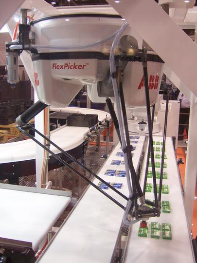 ABB IRB 340 Flexpicker Delta robots designed for high speed pick and place work. Photo:ABB